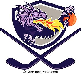 balle, crosse, brûler, dragon, hockey, crête, retro