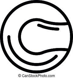 balle, cuir, contour, style, icône, lancer