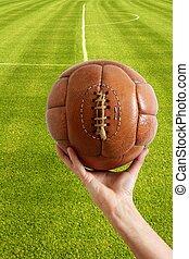 balle, cuir, vendange, football, retro, vieilli