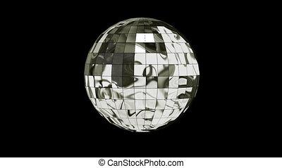 balle, disco, animation, canal alpha, 3d