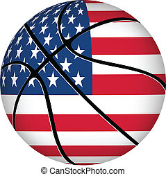 balle, drapeau, basket-ball, white., usa