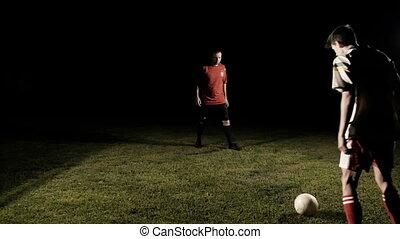 balle, dribble, deux, mouvement, joueur, lent, football