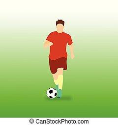 balle, dribble, football, illustration, joueur, vecteur, football