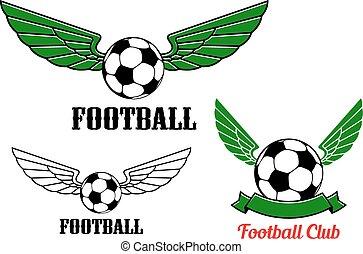 balle, emblème, ailé, football, football, ou