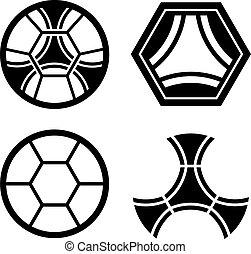 balle, emblème, club, modèle, vecteur, football