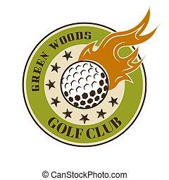balle, emblème, coloré, brûler, vecteur, golf, rond