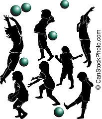 balle, enfants jouer