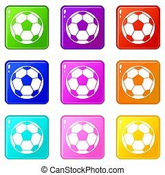 balle, ensemble, 9, football football, icônes