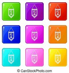 balle, ensemble, 9, football, icônes, fanion