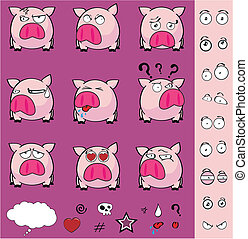 balle, ensemble, dessin animé, cochon