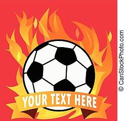 balle, espace, brûler, text., vecteur, football