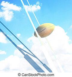 balle, et, but poste, pour, rugby, à, sky.