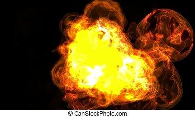 balle, explosion, brûler, tir