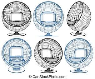 balle, fauteuil, forme, moderne, ve...