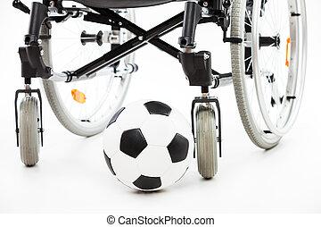 balle, fauteuil roulant, invalide, handicapé, personne, football, ou