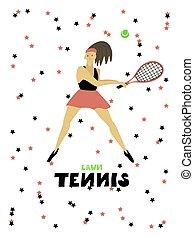balle, femme, tennis, illustration, joueur, vecteur, raquette, freehand, girl
