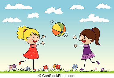 balle, filles, deux, jouer