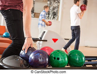 balle, fond, bowling, cueillette, amis, homme