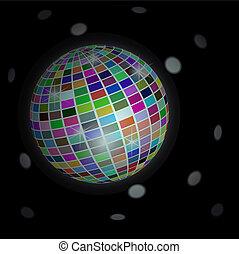 balle, fond, -, disco, vecteur
