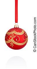 balle, fond, isolé, rouges, décorations, pendre, noël blanc, ruban