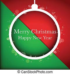 balle, fond, joyeux, année, nouveau, noël, rouges, heureux