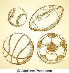 balle, football, américain, football, base-ball, basket-ball