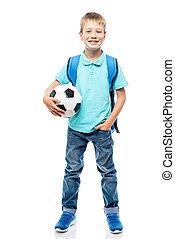 balle, football avoirs, isolé, longueur, entiers, fond, blanc, écolier, heureux