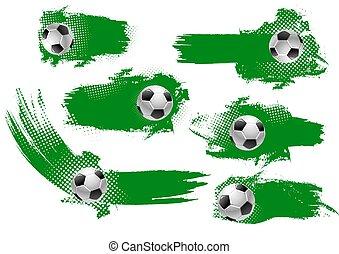 balle, football, championnat, conception, football, bannière
