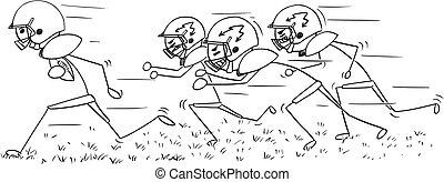 balle, football, courant, joueur, américain, dessin animé