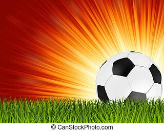 balle, football, eps, grass., 8, football, ou