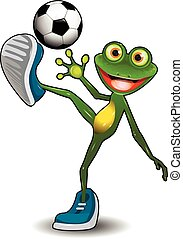 balle, football, grenouille