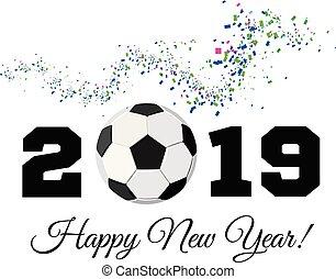 balle, football, illustration, arrière-plan., vecteur, 2019, année, confetti, nouveau, blanc, football, heureux
