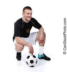 balle, football, isolé, joueur, tenue, blanc