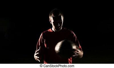 balle, football, mouvement, joueur, lent, jeter