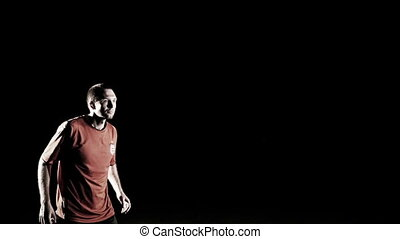 balle, football, mouvement, joueur, lent, mâle, titre