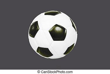 balle, football, use.., gris, isolé, arrière-plan., coupure, facile, coupure, football, dehors