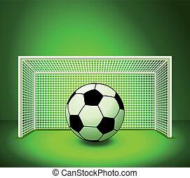balle, football, vecteur, champ vert