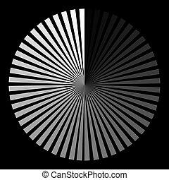 balle, formulaire, développer spirales, rayons, arrière-plan noir, blanc
