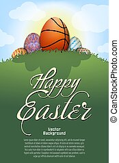balle, formulaire, easter., basket-ball, oeuf, heureux
