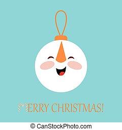 balle, formulaire, illustration, snowman., décoration, vecteur, noël carte