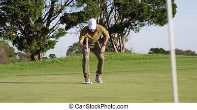 balle, frapper, golf, sien, club, joueur