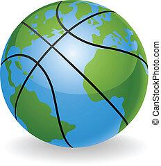 balle, globe mondial, concept, basket-ball