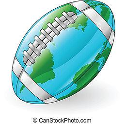 balle, globe mondial, concept, football