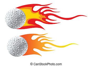 balle golf, à, flammes
