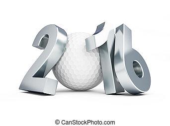 balle golf, 2016, blanc, fond