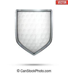 balle, golf, bouclier, intérieur., clair, vector.