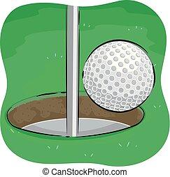 balle, golf, but, illustration