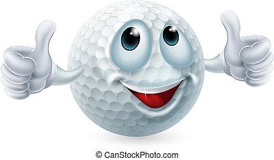 balle golf, caractère, dessin animé