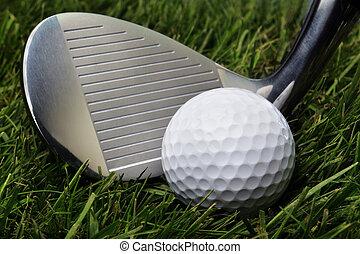 balle golf, dans, herbe