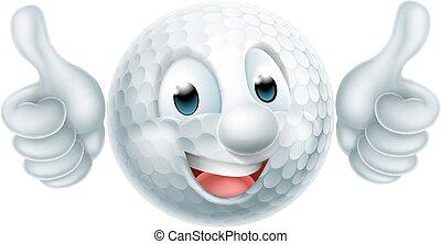 balle, golf, dessin animé, homme